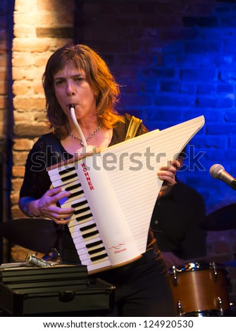 NEW YORK - JANUARY 12: Rachelle Garniez claviola performs with Hazmat Modine band on stage as part of NYC Winter Jazz Festival at The Bitter End on January 12, 2013 in New York City - stock photo