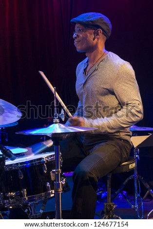 NEW YORK - JANUARY 11: Rudy Royston drums performs with Don Byron quartet on stage as part of NYC Winter Jazz Festival at Le Poisson Rouge on January 11, 2013 in New York City