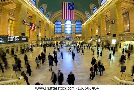 NEW YORK - JANUARY 31: The Grand Central Terminal in New York, is the fourth biggest train station in the world in terms of platforms and the main railway hub of NY as seen on January 31, 2007 in New York City, NY. - stock photo