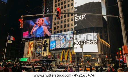 NEW YORK - JANUARY 16: Time Square in New York City on JANUARY 16,2016.