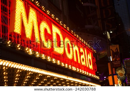 NEW YORK - January 25: View of McDonalds in New York City, as seen on January 25, 2014. McDonalds in NYC. - stock photo