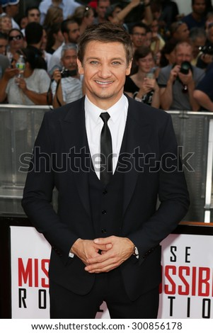 NEW YORK-JUL 27: Actor Jeremy Renner attends the US Premiere of 'Mission: Impossible - Rogue Nation' in Times Square on July 27, 2015 in New York City. - stock photo
