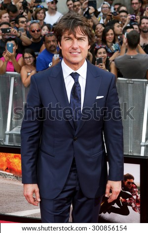 NEW YORK-JUL 27: Actor Tom Cruise attends the US Premiere of 'Mission: Impossible - Rogue Nation' in Times Square on July 27, 2015 in New York City. - stock photo
