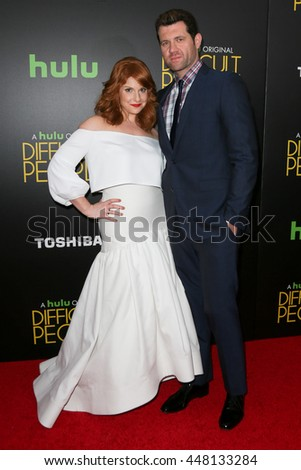 NEW YORK-JUL 30: Actress Julie Klausner (L) and Billy Eichner attend the Hulu Original Premiere of 'Difficult People' at the SVA Theater on July 30, 2015 in New York City. - stock photo