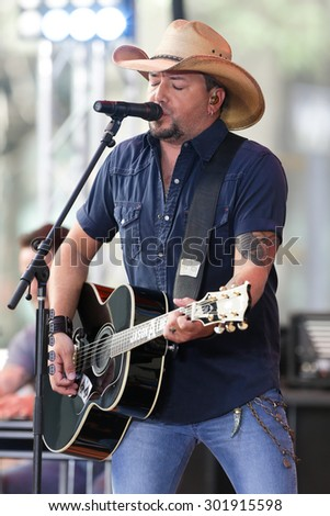 NEW YORK-JUL 31: Country music artist Jason Aldean performs onstage at NBC's 'Today Show' at Rockefeller Plaza July 31, 2015 in New York City. - stock photo