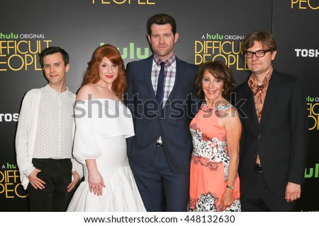 NEW YORK-JUL 30: (L-R) Cole Escola, Julie Klausner, Billy Eichner, Andrea Martin & James Urbaniak attend Hulu Original Premiere of 'Difficult People' at SVA Theater on July 30, 2015 in New York City. - stock photo