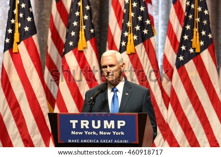 NEW YORK - JUL 16, 2016:  Mike Pence speaks during a press conference after being announced as Donald Trump's Vice Presidential running mate on July 16, 2016 in New York.