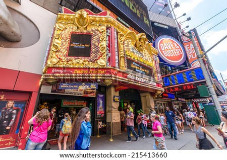 NEW YORK - JUL 22: Ripley's museum on 42nd street on July 22, 2014 in New York City. 42nd Street is a major crosstown street known for its theaters and landmark architectures. - stock photo