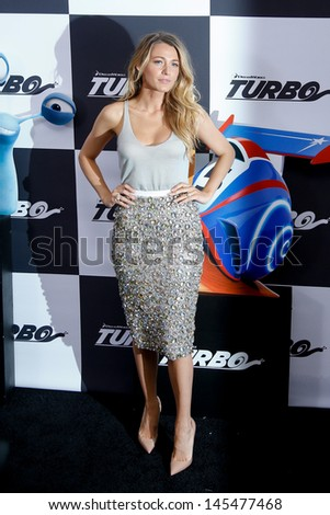 "NEW YORK-JULY 9: Actress Blake Lively attends the premiere of ""Turbo"" at the AMC Loews Lincoln Square theater on July 9, 2013 in New York City.  - stock photo"