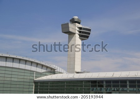 NEW YORK- JULY 10: Air Traffic Control Tower at John F Kennedy International Airport on July 10, 2014. Over sixty airlines operate out of JFK with direct flights to all six inhabited continents