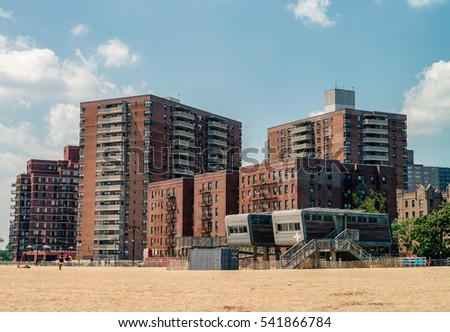 NEW YORK - 22 JULY 2016: buildings cityscape  on the Brighton Beach. It is known for its high population of Russian-speaking immigrants, and as a summer destination for New York City residents.