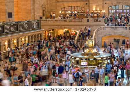 NEW YORK-JULY 26: Commuters inside Grand Central Terminal during rush hour on July 26 2012 in New York City. The terminal is the busiest train station in the US. - stock photo
