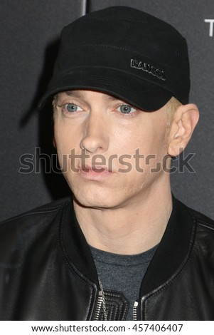 "NEW YORK - JULY 20, 2015:  Eminem attends the premiere of ""Southapaw"" at the AMC Lincoln Square Theater on July 20, 2015 in New York City."