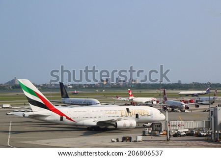 NEW YORK - JULY 22: Emirates Airline Airbus A380 at JFK Airport in New York on July 22, 2014. The Airbus A380 is a double-deck, wide-body, world's largest passenger airliner