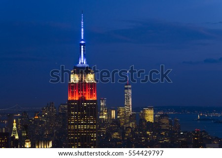 NEW YORK - JULY 11 : Empire state building facade on July 11, 2015. It stood as the world's tallest building for more than 40 years (from 1931 to 1972).