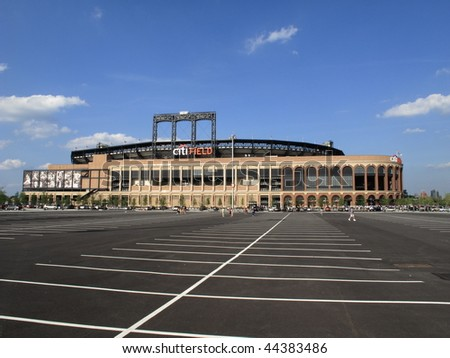 NEW YORK  - JULY 30: Fans gather at concrete and old fashioned brick Citi Field during its first season on July 30, 2009 in New York. - stock photo