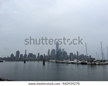 NEW YORK - JULY 30: image of lower Manhattan skyscrapers shot from New Jersey on a gloomy day with iPhone 6 July 30, 2016 in New York USA