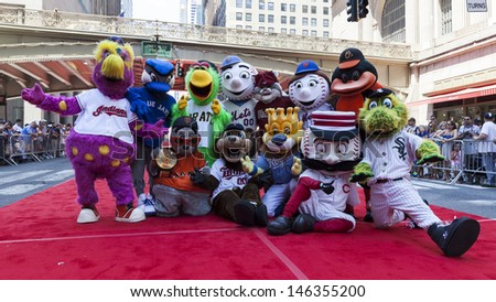 NEW YORK - JULY 16: MLB teams mascots pose on red carpet during the MLB All-Star Game Red Carpet Show along 42nd street on July 16, 2013 in New York