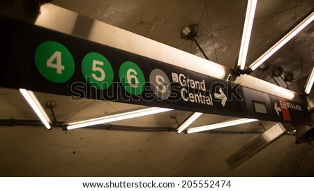NEW YORK - JULY 14, 2014: MTA subway train sign for Grand Central Station in New York. The NYC Subway is a rapid transit/transportation system in the City of NY. - stock photo