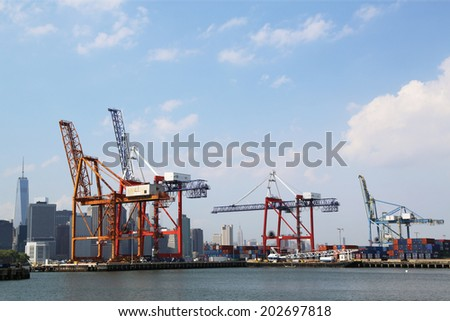 NEW YORK - JULY 1  Red Hook Container Terminal in Brooklyn on July 1, 2014  It is the only terminal in New York situated East of the Hudson River