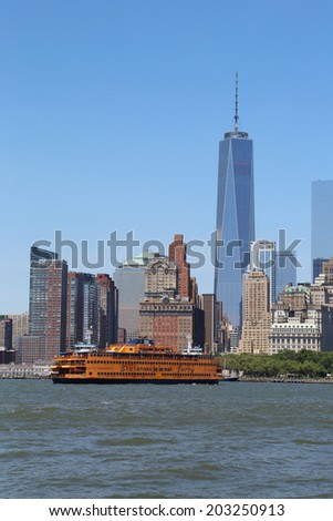 NEW YORK - JULY 6: Staten Island Ferry in New York Harbor on July 6, 2014