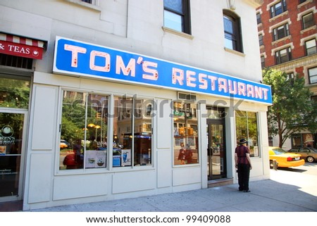 NEW YORK - JULY 17: The Seinfeld location diner on July 17, 2011 in New York. Tom's restaurant exterior was used as a stand-in for the fictional Monk's Cafe in the popular television sitcom Seinfeld. - stock photo