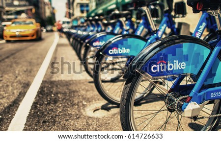 NEW YORK - JUN 11: Citi bike station ready for business in New York on June 11, 2013. NYC bike share system hit the road in Manhattan and Brooklyn on May 27, 2013.