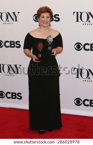 NEW YORK-JUN 7: Lisa Kron holds the trophy at the American Theatre Wing's 69th Annual Tony Awards at Radio City Music Hall on June 7, 2015 in New York City. - stock photo