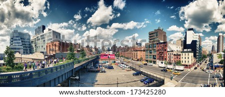 NEW YORK - JUN 15: Panoramic view of High Line Park, New York, June 15th, 2013. The High Line is a popular linear park built on the elevated train tracks above Tenth Ave in New York City - stock photo