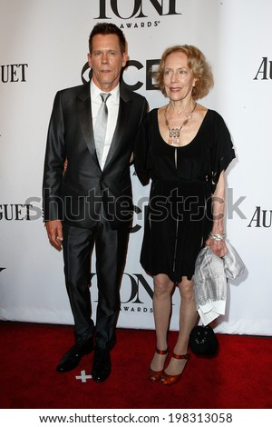 NEW YORK-JUNE 8: Actor Kevin Bacon (L) and sister Karin Bacon attend American Theatre Wing's 68th Annual Tony Awards at Radio City Music Hall on June 8, 2014 in New York City. - stock photo
