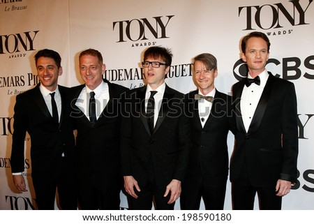 NEW YORK-JUNE 8: Actor Neil Patrick Harris (R) and cast of Hedwig the Angry Inch attend American Theatre Wing's 68th Annual Tony Awards at Radio City Music Hall on June 8, 2014 in New York City. - stock photo