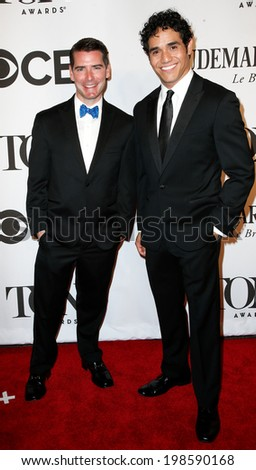 NEW YORK-JUNE 8: Actors Chad Beguelin (L) and Adam Jacobs attend American Theatre Wing's 68th Annual Tony Awards at Radio City Music Hall on June 8, 2014 in New York City. - stock photo