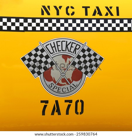 NEW YORK - JUNE 21, 2014: Checker Taxi Cab produced by the Checker Motors Corporation In New York. The Checker remains the most famous taxi cab vehicle in the United States - stock photo