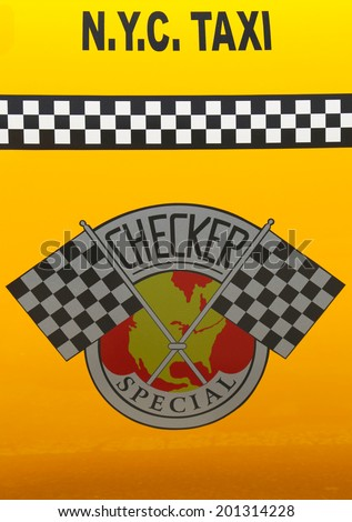 NEW YORK - JUNE 21:Checker Taxi Cab produced by the Checker Motors Corporation In New York on June 21, 2014. The Checker remains the most famous taxi cab vehicle in the United States  - stock photo