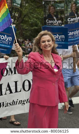 NEW YORK - JUNE 26: Congresswoman Carolyn Maloney attends Pride march along Fifth Avenue at pride parade on June 26, 2011 in New York City, NY.
