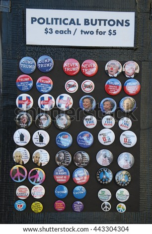 NEW YORK - JUNE 14, 2016: 2016 election buttons on display in Manhattan. The United States presidential election of 2016, scheduled for Tuesday, November 8, 2016 - stock photo