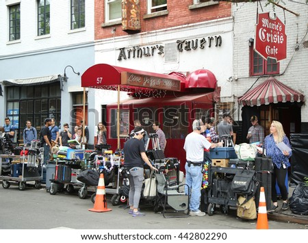 NEW YORK - JUNE 16, 2016: Film crew at location in Greenwich Village in New York City - stock photo