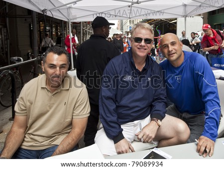 NEW YORK - JUNE 12: John Franco, Boomer Esiason, Craig Carton attend Street Fair sponsored by Canon and Adorama on June 12, 2011 in New York City - stock photo