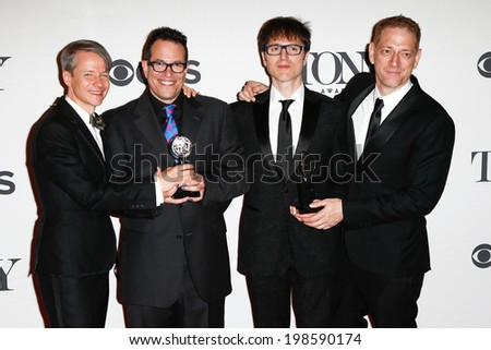 NEW YORK-JUNE 8: (L-R) John Cameron Mitchell, Michael Mayer, Stephen Trask and David Binder at American Theatre Wings 68th Annual Tony Awards at Radio City Music Hall on June 8, 2014 in New York City. - stock photo