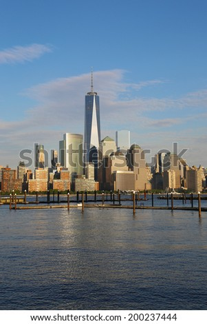 NEW YORK - JUNE 21: Lower Manhattan skyline panorama on June 21, 2014. Freedom Tower is the tallest building in the Western Hemisphere and the third-tallest building in the world - stock photo