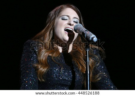 NEW YORK - JUNE 11, 2016:  Meghan Trainor performs during the Summer Jam concert at the Jones Beach Theater on June 11, 2016 in New York.