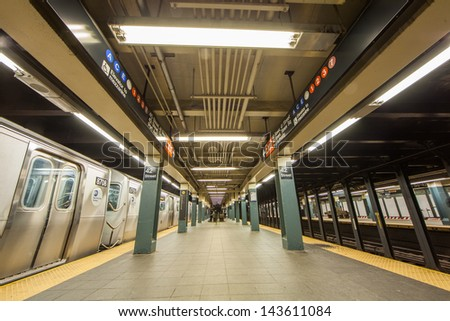 NEW YORK - JUNE 21: MTA subway platform on June 21, 2013 in New York. The MTA is a public benefit corporation responsible for public transportation in the U.S. state of New York. - stock photo