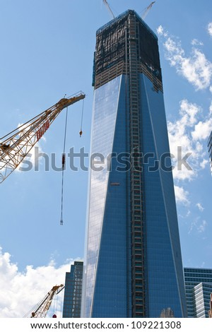 NEW YORK - JUNE 23: One World Trade Center (nicknamed the Freedom Tower), seen under construction on June 23, 2012 in New York City. The Freedom Tower is the tallest building in New York.