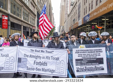 NEW YORK -  JUNE 28 : Orthodox Jews protest again the Gay Pride Parade on June 28, 2015 in New York. The parade is held two days after the U.S. Supreme Court's decision allowing gay marriage. - stock photo