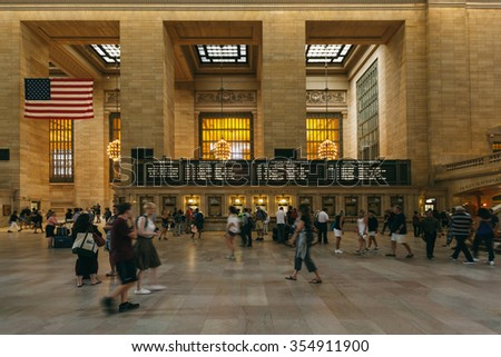 NEW YORK, JUNE 12: People in Grand Central Terminal, the largest train station in the world with 44 platforms and 67 tracks on June 12 2015 in New York, USA - stock photo