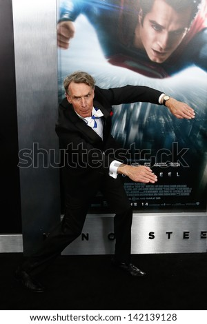 "NEW YORK-JUNE 10: Producer Bill Nye attends the world premiere of ""Man of Steel"" at Alice Tully Hall at Lincoln Center on June 10, 2013 in New York City.  - stock photo"