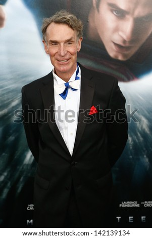 """NEW YORK-JUNE 10: Producer Bill Nye attends the world premiere of """"Man of Steel"""" at Alice Tully Hall at Lincoln Center on June 10, 2013 in New York City.  - stock photo"""