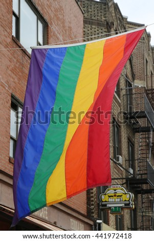 NEW YORK - JUNE 16, 2016: Rainbow flag at Greenwich Village in New York City