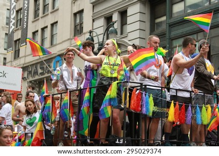 NEW YORK - June 28: Shutterstock marches in the NYC Pride Parade for the third year in a row. Earlier the same week the SCOTUS ruled in favor of Marriage Equality in all 50 states. June 28, 2015 in NY