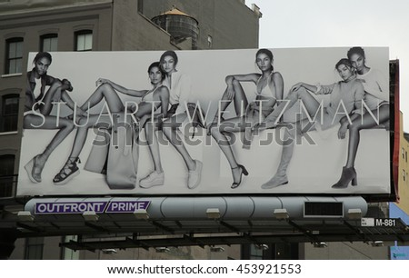 NEW YORK - JUNE 16, 2016: Stuart Weitzman controversial billboard in Lower Manhattan
